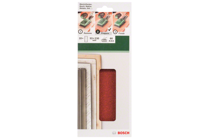 10-piece sanding sheet set for orbital sanders 93 x 230 mm, 8 holes