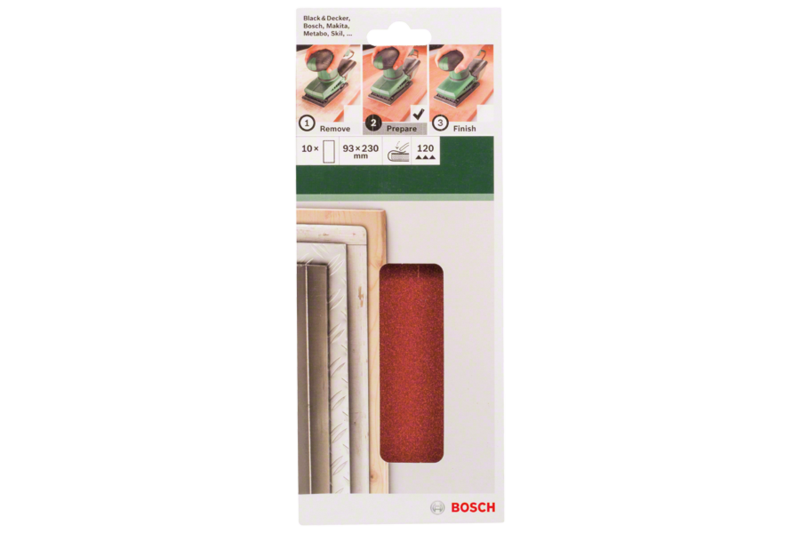 10-piece sanding sheet set for orbital sanders 93 x 230 mm, no holes