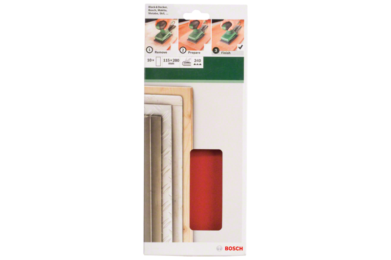 10-piece sanding sheet set for orbital sanders 115 x 280 mm, no holes