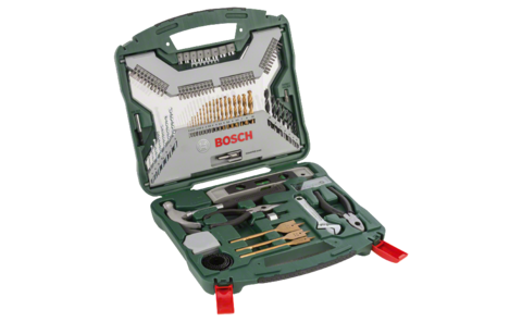 103-piece X-Line Titanium set | Ideally equipped to handle virtually any task: Very well equipped DIY enthusiast set in a handy carry case for all wood, masonry and metal jobs. Comes with screwdriver bits and hole saws, as well as useful manual tools, such as a hammer, tape measure, spirit level, long nose pliers, combination pliers and an adjustable spanner.