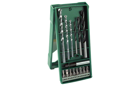 15-piece Mini-X-Line mixed set | Ideally equipped to handle the most important jobs: Clearly structured DIY enthusiast set for drilling 5 - 8 mm holes in wood and masonry. Comes with 8 screwdriver bits and universal holder.