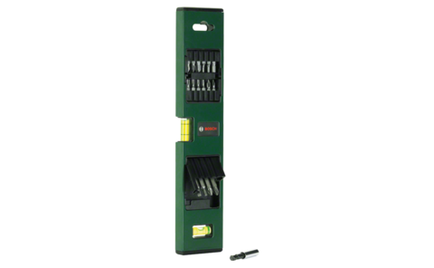 17-piece spirit level set | To make sure that nothing ever hangs at an unwanted angle. 16 high-grade screwdriver bits, practically integrated in the spirit level.