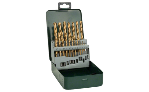 19-piece HSS-TiN metal drill bit set | Set containing high-performance metal drill bits with high-grade titanium nitride coating for a particularly long service life and fast drilling progress. Bit diameters in 0.5 mm steps from 1-10 mm.