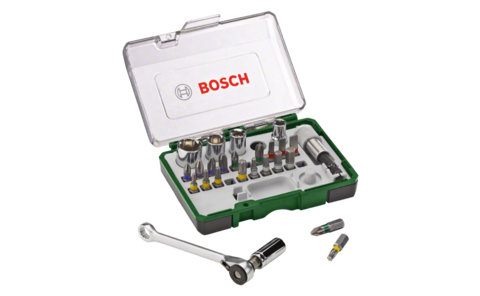 27-piece screwdriver bit and ratchet set | High-grade set with colour-coded screwdriver bits, standard nutsetters and ratchet for various screwdriving and assembly work.