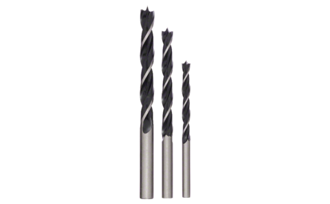 Wood drill bit set, 3-piece, cylindrical