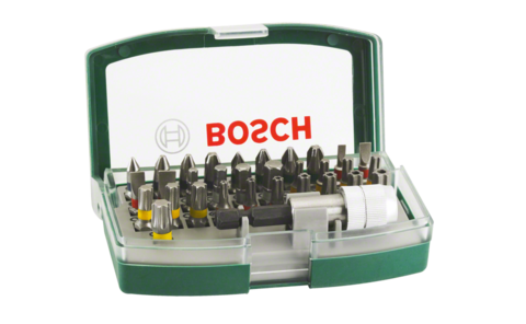 32-piece screwdriver bit set with colour coding | Find the right screwdriver bit quickly with the colour-coded Bosch screwdriver bits. 31 screwdriver bits in 25 mm length for all standard screw types and sizes.