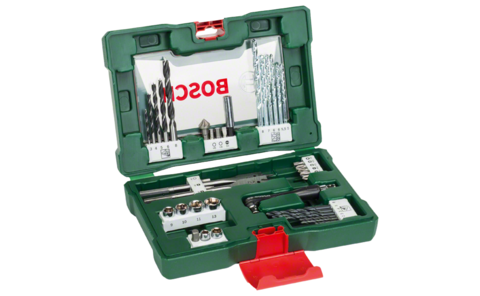 41-piece V-Line drill bit and screwdriver bit set with angle driver | Equipped to handle virtually any project: Compact drill bit and screwdriver set for drilling and fixing in wood, masonry and metal. Also included: Offset screwdriver for screwdriving in tight and hard-to-reach spots.