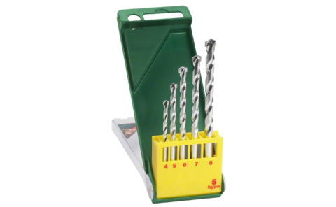 5-piece masonry drill bit set | Perfectly equipped to handle for virtually any fixing/attachment project: Masonry drill bit set for precise drilling in masonry, limestone, natural stone and cast stone.