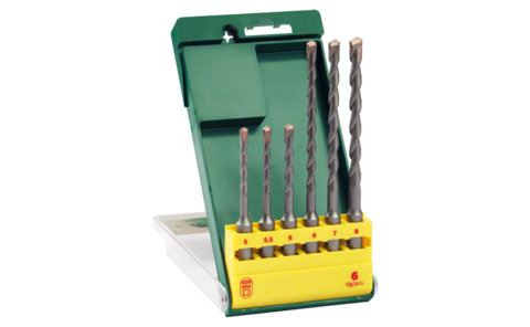 6-piece SDS-plus hammer drill bit set | Ideally equipped to handle virtually any task: SDS-plus hammer drill bit set for powerful, professional drilling in concrete, natural stone and masonry.
