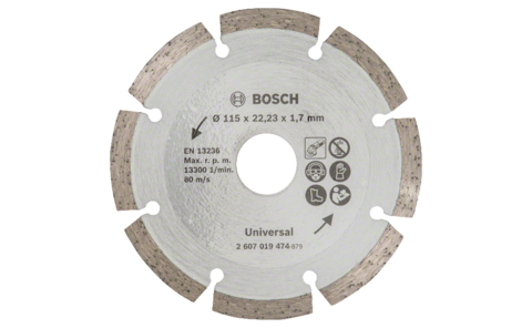 Diamond cutting disc for construction material, Ø 115 mm | Ideally equipped to handle virtually any task: Diamond cutting disc Ø 115 mm, for precise, clean cuts in various construction materials.