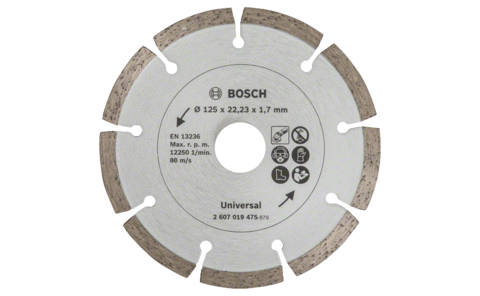 Diamond cutting disc for construction material, Ø 125 mm | Ideally equipped to handle virtually any task: Diamond cutting disc Ø 125 mm, for precise, clean cuts in various construction materials.