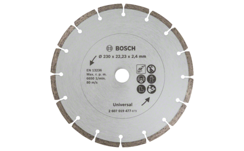 Diamond cutting disc for construction material, Ø 230 mm | Ideally equipped to handle virtually any task: Diamond cutting disc Ø 230 mm, for precise, clean cuts in various construction materials.