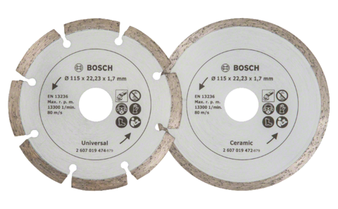 Diamond cutting discs for tiles and construction material, Ø 115 mm | Ideally equipped to handle virtually any task: Diamond cutting discs for precise, clean cuts in soft and hard tiles, as well as various construction materials.