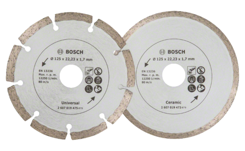 Diamond cutting discs for tiles and construction material, Ø 125 mm | Ideally equipped to handle virtually any task: Diamond cutting discs for precise, clean cuts in soft and hard tiles, as well as various construction materials.