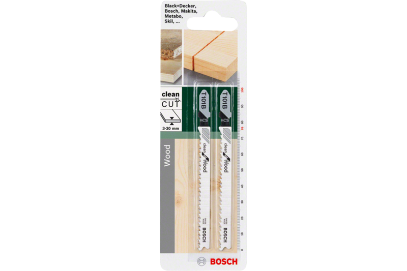 Jigsaw blade for clean cuts in softwood, chipboard