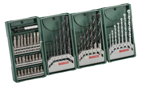 Multipack 3+1 Mini-X-Line set | Ideal for virtually any task: This high-grade basic equipment allows precise drilling and screwdriving in masonry, wood and metal and covers the most common DIY applications.