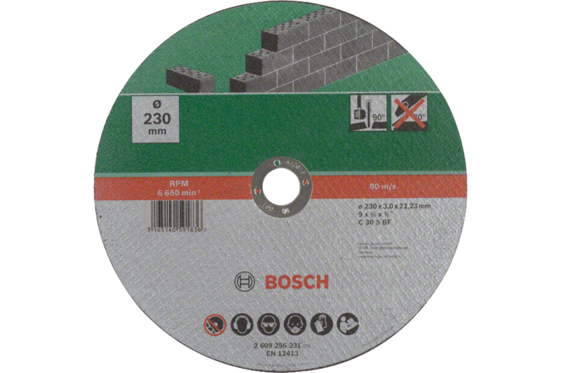 Straight cutting disc, stone