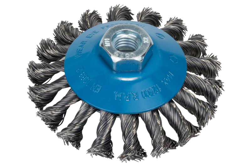 Tapered brush for angle grinders and straight grinders – Knotted wire