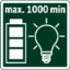 Max. lighting duration per battery charge