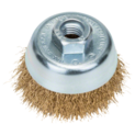 Wire cup brush for angle grinders and straight grinders – Crimped wire, brass-coated