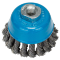 Wire cup brush for angle grinders and straight grinders – Knotted wire