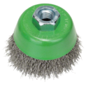 Wire cup brush for angle grinders and straight grinders – Crimped wire, stainless steel