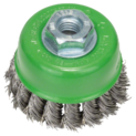 Wire cup brush for angle grinders and straight grinders – Knotted wire, stainless steel
