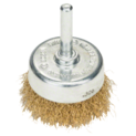 Wire cup brush for drills – Crimped wire, brass-coated
