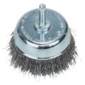 Wire cup brushes for drills – Crimped wire, 70 mm