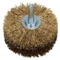 Wood texturing brush for drills - Crimped wire, brass-coated, 80 mm