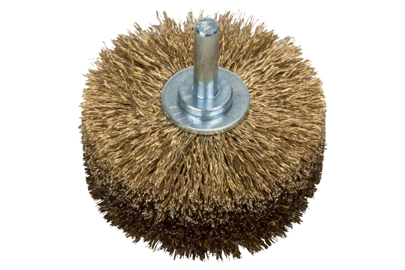 Wood structuring brush for drills – Crimped wire, brass-coated
