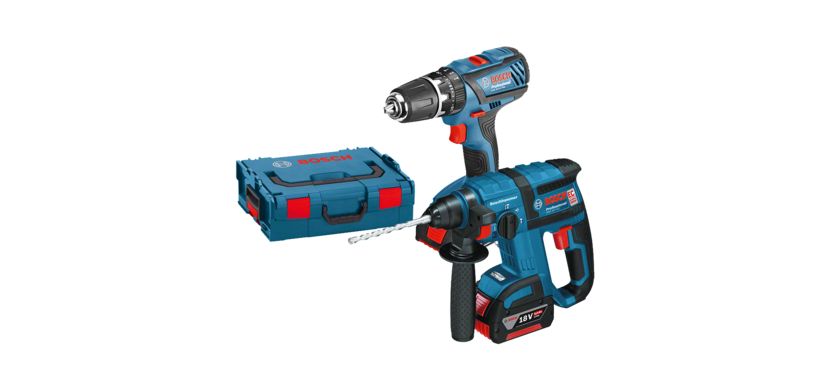 Professional Set 18V GSB 18-2-LI LIGHTseries Combi Drill + GBH 18V-EC Rotary Hammer + 2 x 4.0 Batteries + AL 1860 CV Charger, in an L-BOXX