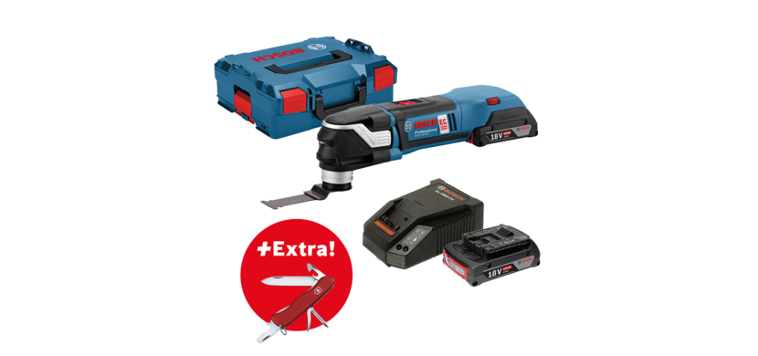 Professional Set: Cordless multi-cutter GOP 18V-28 + 2 x 2.0 Ah batteries + 16-piece accessory set + Victorinox clasp knife in L-BOXX