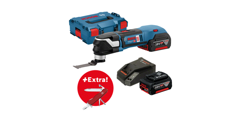 Professional Set: Cordless multi-cutter GOP 18V-28 + 2 x 5.0 Ah batteries + 16-piece accessory set + Victorinox clasp knife in L-BOXX